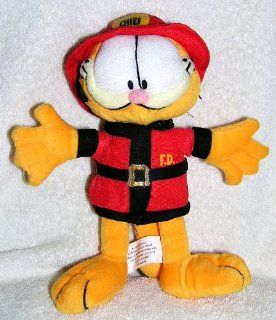 "Stuffed Plush 9"" Garfield the Cat Fireman Chief Doll Toys & Games"
