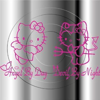 Hello Kitty Angel & Devil Car Window Truck Vinyl Decal Sticker P007  PINK COLOR