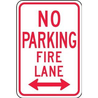 "Accuform Signs FRP127RA Engineer Grade Reflective Aluminum Parking Restriction Sign, Legend ""NO PARKING FIRE LANE"" with Double Arrow, 12"" Width x 18"" Length x 0.080"" Thickness, Red on White"