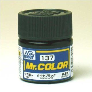 Gundam Mr. Color 137   Tire Black (Flat/Aircraft Car) Paint 10ml. Bottle Hobby Toys & Games