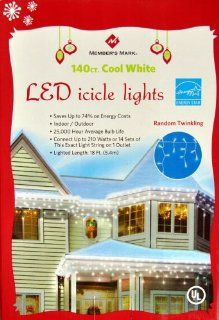 140 Count UL LED Cool White Icicle Christmas LED Holiday Lights   Saves Up to 74% on Energy Costs, Random Twinkling Kitchen & Dining