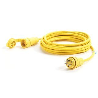 Woodhead 14W49A143 Watertite Wet Location Straight Blade Cordset, 3 Wires, 2 Poles, NEMA 6 15 Configuration, Yellow, 14 Gauge SOOW Cord, 15A Current, 250V Voltage, 25ft Cord Length Electric Plugs