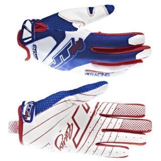 JT Racing Evo Lite Race Gloves   Red White Blue 2013