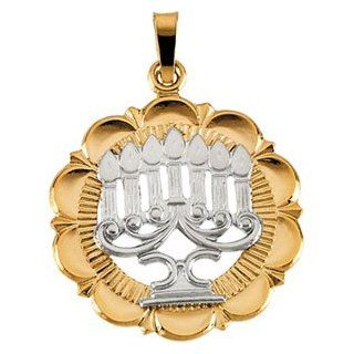 14K White And Yellow Gold Two Tone Menorah Pendant Reeve and Knight Jewelry