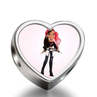 Soufeel Bratz fashion girl with red hair brand heart photo charm beads Jewelry
