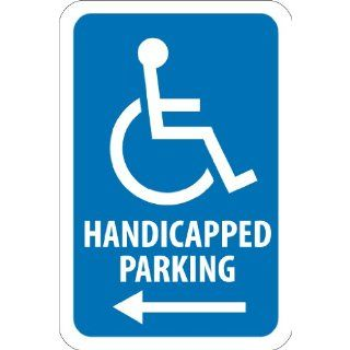 "NMC TM152J Handicap Parking Sign, Legend ""HANDICAPPED PARKING"" with Left Arrow Graphic, 12"" Length x 18"" Height, Engineer Grade Prismatic Reflective Aluminum 0.080, White On Blue"