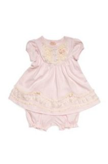 Baby Biscotti   Lace Lullaby Infant Girl's Dress and Bloomer with Lace Details in Pink   24 Months Clothing