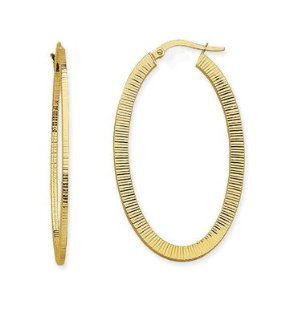 CleverEve's 14K Yellow Gold Square Tube Design Oval Euro Hoop Earring CleverEve Jewelry