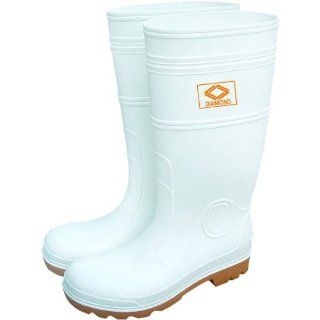 Diamond 168 High Grade Virgin PVC Steel Toe Protective Knee Boot, Size 14, White