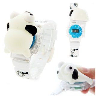 Funny Animal Style Cartoon 3D Children Watch With Flashing Light Dog White Watches