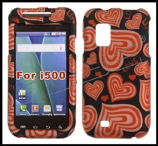 Samsung i500 Fascinate Snap on Hard Shell Cover Case Red Love Hearts + Clear Screen Protector Cell Phones & Accessories