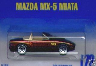 Mattel Hot Wheels 1991 164 Scale Maroon Mazda MX 5 Miata Die Cast Car Collector #172 Toys & Games
