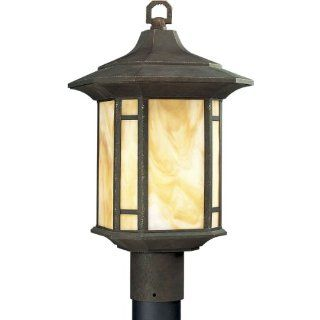 Progress Lighting P5428 46 1 Light Post Lantern with Honey Art Glass and Mica Accent Panels, Weathered Bronze   Landscape Torch Lights
