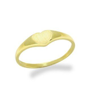 14K Baby Ring Plain Heart Yellow Gold Ring Size 2 To 5 For Baby, Kids And Teens Jewelry