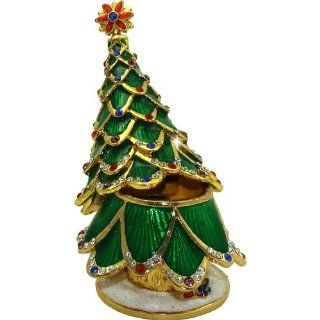 "Objet D'Art Release #352 ""Evergreen"" Holiday Christmas Tree Handmade Jeweled Metal & Enamel Trinket Box   Action Figure Accessories"