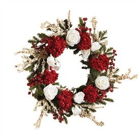 24 Round Hydrangea Wreath with White Roses   Artificial Christmas Wreath   Decorated Christmas Wreath