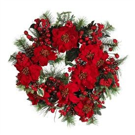 24 Round Red and Green Poinsettia Wreath   Artificial Christmas Wreath   Decorated Christmas Wreath