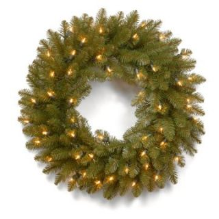 24 in. Dunhill Fir Pre Lit Christmas Wreath   Christmas Wreaths