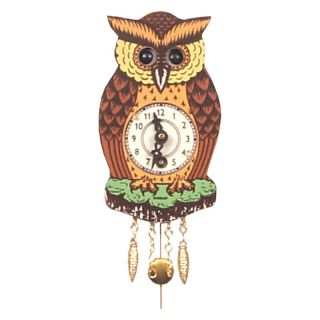 Black Forest Owl 4.5 Inch Wall Clock   Wall Clocks