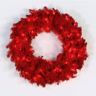 48 in. Red Flocked Spruce Pre lit Christmas Wreath   Christmas Wreaths