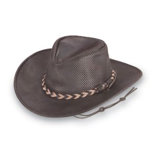 Minnetonka Fold Up Outback Leather Hat   Dark Brown   Hats and Earmuffs