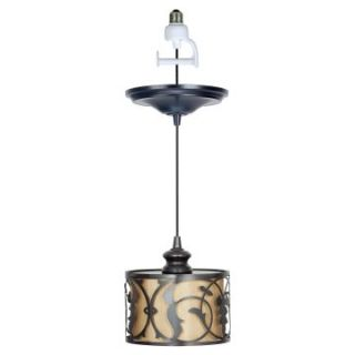 Worth Home Products Instant Pendant Light with Linen Moss Shade   Brushed Bronze   Pendant Lighting