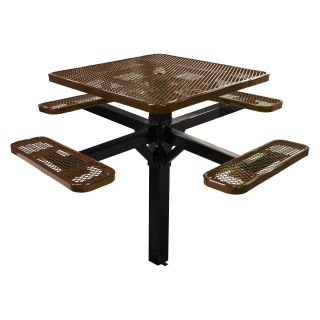 46 in. Single Post Expanded Metal Square Commercial Grade Picnic Table with Attached Benches   Commercial Picnic Tables