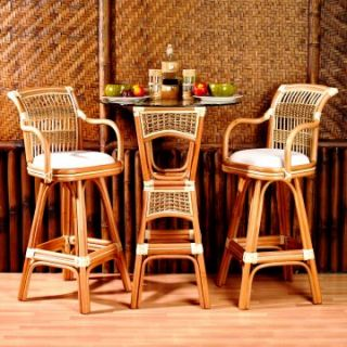 Spice Islands 3 Piece Wicker Bar Height Bistro Set   Pub Tables