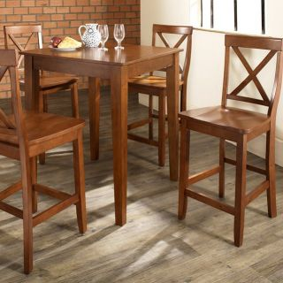 Crosley 5 Piece Pub Dining Set with Tapered Leg and X Back Stools   Indoor Bistro Sets