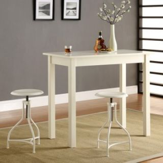 Tavern 3 Piece White Pub Table Set   with Ansley White Adjustable Stools   Pub Tables