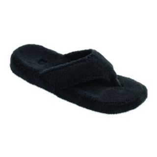Acorn Womens New Spa Thong Slippers   Black   Womens Slippers