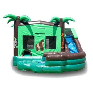 EZ Inflatables Double Drop Tropical Combo Bounce House   Commercial Inflatables