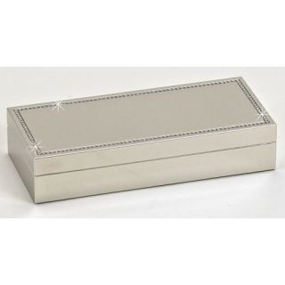 Milano Hinged Jewelry Box with Crystal Border   8W x 1.5H in.   Trinket Boxes