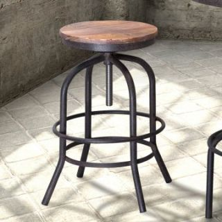 Zuo Modern Twin Peaks Adjustable Height Backless Bar Stool   Distressed Natural   Drafting Chairs & Stools