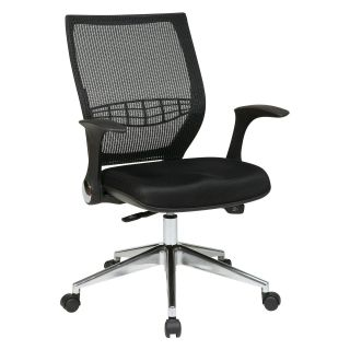 Office Star ProGrid Back Managers Mesh Fabric Seat Chair with Flip Arms and Self Adjusting Control   Polished Aluminum Base   Desk Chairs