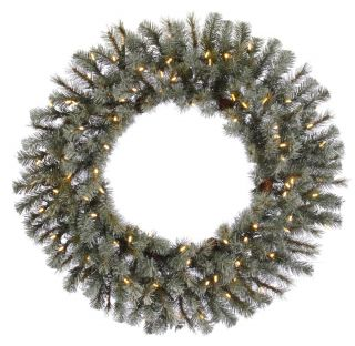 Frosted Sartell Pre Lit Warm White LED Wreath   Christmas Wreaths