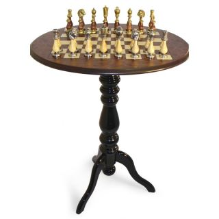 Round Pedestal Chess Table with Big Staunton Metal and Wood Chessmen   Chess Tables