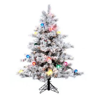 Vickerman Flocked Alaskan Clear Pre lit Christmas Tree   Christmas Trees