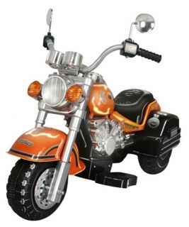 Harley Chopper style Motorcycle Battery Powered Riding Toy   Orange   Battery Powered Riding Toys