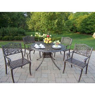 Oakland Living Capitol Cast Aluminum 48 in. Mississippi Patio Dining Set   Seats 4   Patio Dining Sets