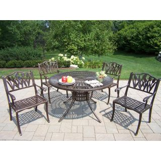 Oakland Living Sunray Cast Aluminum 48 in. Tulip Patio Dining Set   Seats 4   Patio Dining Sets