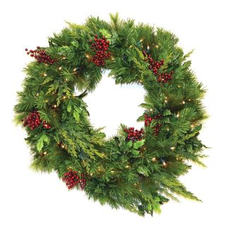 30 in. Estate Pre lit LED Wreath   Battery Operated   Christmas Wreaths