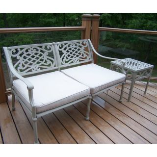 Oakland Living Tacoma Cast Aluminum Deep Seating Loveseat with Side Table   Outdoor Sofas & Loveseats