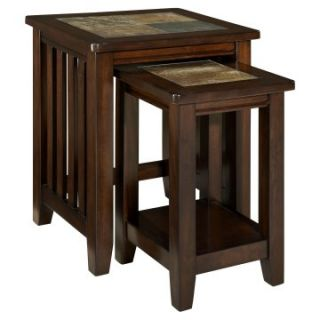 Standard Furniture Napa Valley Rectangle Wood and Stone Top Nesting Tables   End Tables