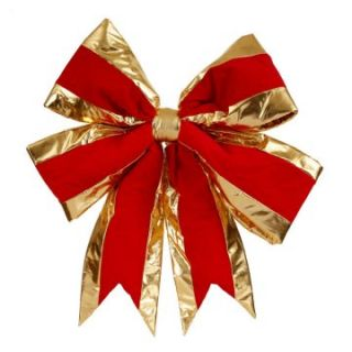 Vickerman Red Structured Bow Gold Trim   Christmas Wreaths