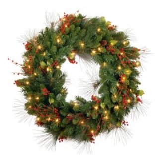30 in. Holiday Decorated Pre lit Wreath   Christmas Wreaths