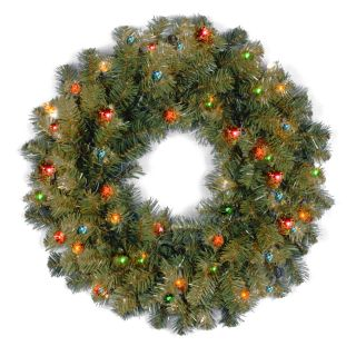 24 in. Kincaid Spruce Pre Lit Christmas Wreath   Multi Colored   Christmas Wreaths