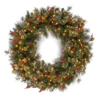 Wintry Pine Pre Lit Christmas Wreath with Pine Cones and Red Berries   Christmas Wreaths
