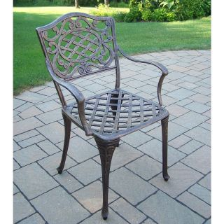 Oakland Living Mississippi Cast Aluminum Semi Welded Dining Arm Chair   Set of 4   Outdoor Dining Chairs