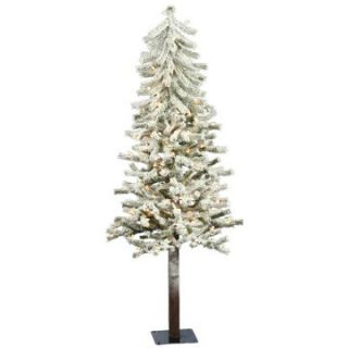 5 ft. Flocked Alpine Pre lit Christmas Tree   Christmas Trees